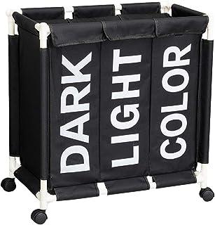 Rubik Laundry Basket Bin with Rolling Wheels & Removable Lids, 3 Section Waterproof Clothes Sorter Hamper Organizer Storag...