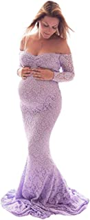 IBTOM CASTLE Pregnant Women Lace Dresses Maternity Wrap Maxi Mermaid Dress Photography Props Long Evening Gowns for Baby S...