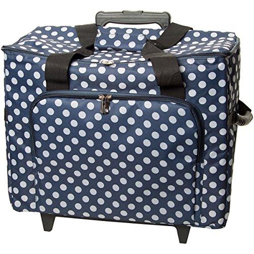 Nähmaschinen-Trolley, blau-weiß im Polka Dots Design -- Gepolstert -- Teleskopstange -- Strapazierfähiger Maschinentrolley gepunktet | Universal Nähmaschinen-Trolley, Nähmaschinen-Koffer mit Rollen