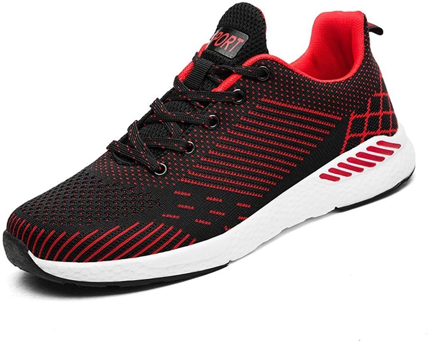 Hhgold 2018 Men's Athletic Sneakers Casual Style Summer Mesh Breathable Fly Weave ONE Pair Of Running Sneakers (color  Black, Size  45 EU) (color   Red, Size   47 EU)