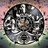 FDGFDG Boxing Vinyl Record Reloj de Pared Pugilist Reloj Decorativo Reloj Fighting Sports Timepiece Wall Art Room Decoración Colgante Boxers Gift