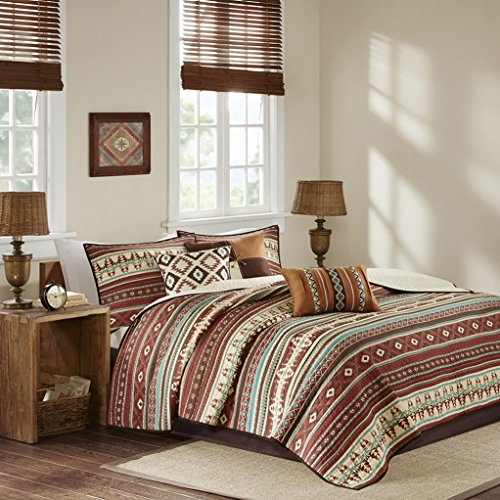 Southwest Geometric Native American Turquoise & Cinnamon Red Cal King Quilt, Shams & Toss Pillows (6 Piece Bed in A Bag)