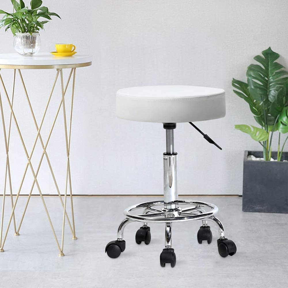 NUFR Reservation Home PU Super beauty product restock quality top! Leather Round Stool Height Adjustabl Swivel Rolling