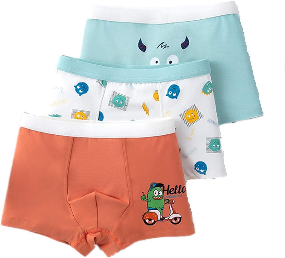 FOFJR 3 Pack Boys Boxer Briefs Shorts Cotton Toddler Underwear for 2-15Y