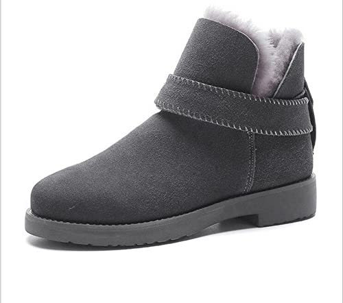Kuki Stiefel para damenes, schuhe para damenes, Stiefel de nieve, schuhe de tamaño grande, piel, Mate, piel, épaissi, cálido, antideslizante, Stiefel