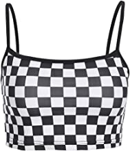 Women Sexy Checkerboard Print Strap Backless Plaid Camis Streetwear Crop Tops