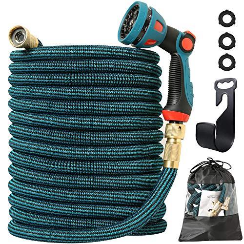 ARNTY Gartenschlauch Flexibel 3/4 Zoll & 1/2 Zoll,Flexibler Gartenschlauch,Wasserschlauch Flexibel,Garden Hose mit 8 Funktions Sprühdüse für Gartenbewässerung Autowäsche (Blau, 100FT/30M)