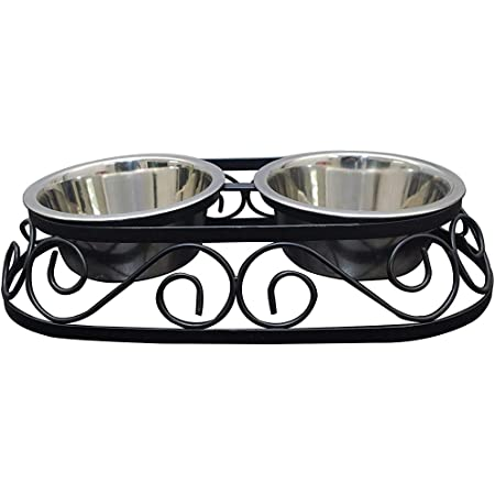 Naaz Pet Supplies Stainless Steel Rustic Oval Shape Food and Water Bowls with Iron Stand Diner for Dogs and Cats (Medium, Black, 900 ml x 2)