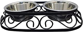 Naaz Pet Supplies Stainless Steel Rustic Oval Shape Food and Water Bowls with Iron Stand Diner for Dogs and Cats (Medium, ...
