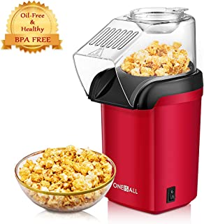 Popcorn Maker, Oneisall 1200W Fast Popcorn Machine, Hot Air Popcorn Popper with Wide Mouth Design, Oil-Free, Including Measuring Cup and Removable Lid, FDA Approved