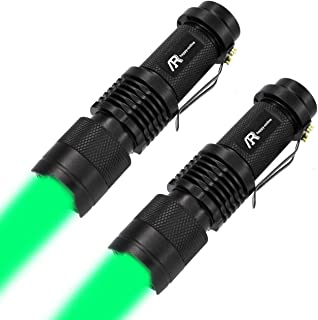 AR happy online Green Light LED Flashlight, Single Mode Zoomable Tactical Torch, Adjustable Focus Light for Astronomy Observation, Night Vision, Fishing, Hunting, Detection (2 Pack)