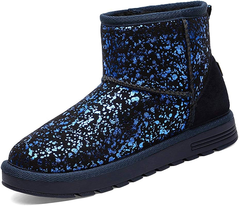 YUBIN Winter Plus Velvet Anti-Slip Flat Sports Female Snow Boots, Black, bluee (color   bluee, Size   EU 40 US 7.5 UK 6.5 JP 25cm)