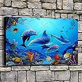 zzlfn3lv Cuadro en Lienzo decoración del hogar 1 Pieza Azul océano delfín Pintura Impresiones submarinas Peces de mar sin Marco 50x70 cm
