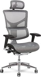 X-Chair X2 Management Task Chair, White K-Sport Mesh with Headrest