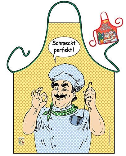 Tini - Shirts Hausmann Kochschürze Hobbykoch Schürze Sternekoch : Schmeckt perfekt! - Weihnachtssgeschenk-Set - Deko Geschenk Flasche Weihnachten