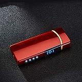 Haioo Briquet électrique Rechargeable avec USB, résistant au Vent, Briquet électrique à Double Arc avec indicateur LED de Batterie, capteur Tactile, sans Flamme, Allume-feu