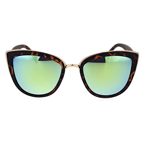 7f4acbcbee8a42 SA106 Womens Color Mirror Mirrored Lens Oversize Cat Eye Sunglasses