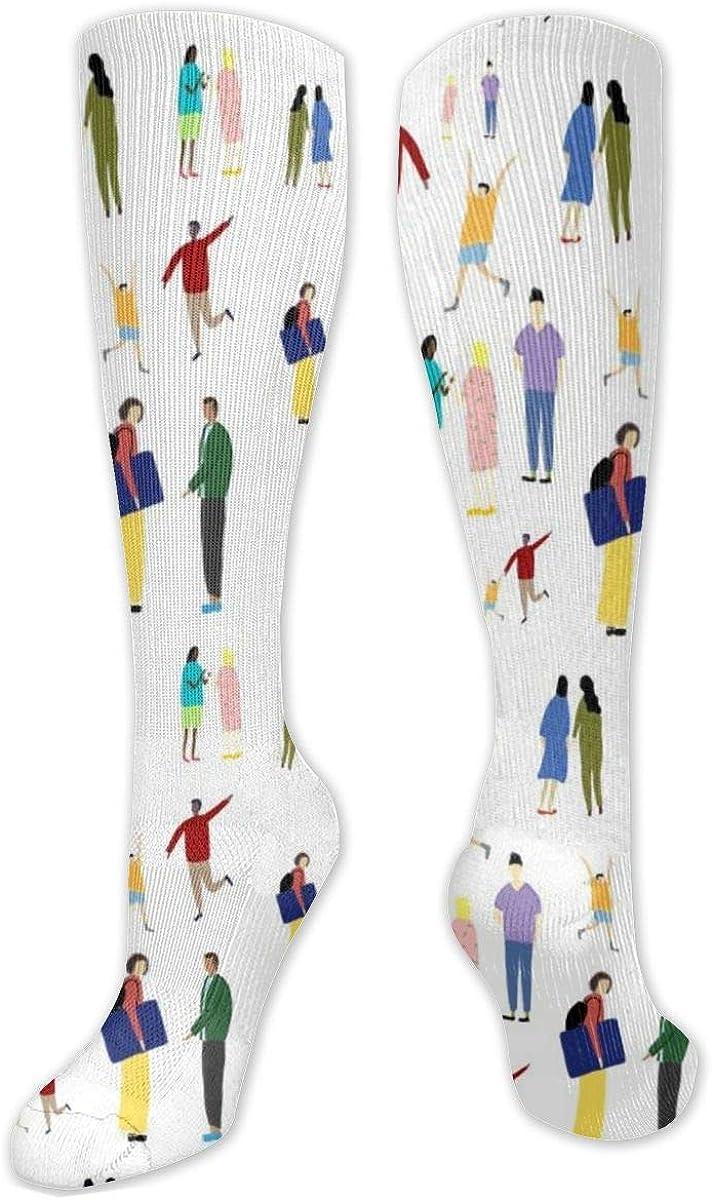 Warp Paper Pattern Copy Knee High Socks Leg Warmer Dresses Long Boot Stockings For Womens Cosplay Daily Wear