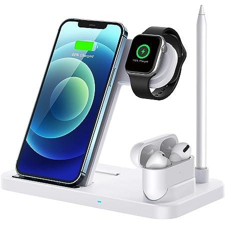 Cargador Inalámbrico Rápido,QI-EU 4 en 1 Inalámbrica Soportes de Carga para Apple Watch Airpods Pro iPhone 12/11 / 11pro / X/XS/XR/XS MAX / 8 Plus, Samsung Galaxy S20 (Incluye Adaptador)