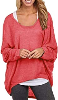 Fashion Women Round Neck Long Sleeve Solid Color Loose Pullover Blouse Top Shirts Tee (Color : Red, Size : L)