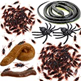 Cwuberly Prank Kit for Kids- Realistic Snake Fake Poop Fake Bugs Roaches Plastic Spiders Fake Cockroaches Novelty Pranks Toys Gifts for Kids Realistic Bugs