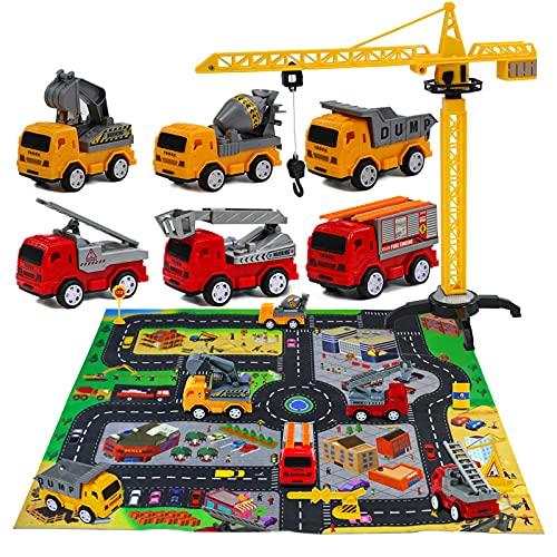 Macchinine Giocattolo per Bambini con Tappeto Bambini Camion Pompieri Giocattolo per Bambini Veicoli da Cantiere Gru Giocattolo per Bambini Giochi Bambini 3 4 5 6 Anni