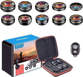 APEXEL 10-in-1 cameralens voor mobiele telefoon, groothoek en macro lens + telelens + fisheye-lens + caleidoscoop / CPL/Fl...