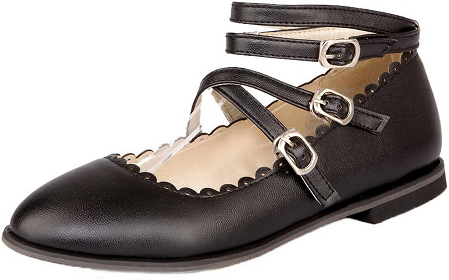 WeenFashion Women's Solid PU Low-Heels Round-Toe Buckle Pumps-shoes