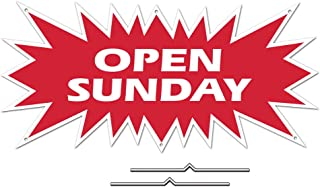 Open Sunday Starburst Sign Rider - Red Real Estate Corrugated Sign Kit Includes 2-8