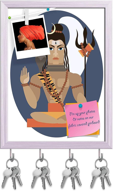 Artzfolio Hindu Deity Lord Shiva Key Holder Hooks   Notice Pin Board   White Frame 12 X 16.2Inch