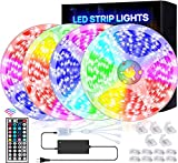 Led Strip Lights 65.6ft 20m Ultra-Long Led Lights for Bedroom, High-Brightness 5050 RGB Color Changing Room Lights for tv/Decorations, 12v Smart Dimmable Stardust Gaming Led Tape Lights with Remote