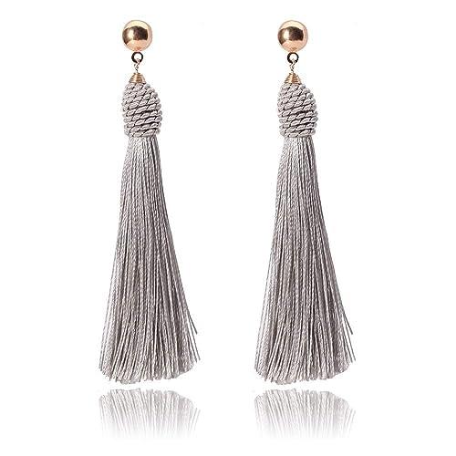 dd3f91d10 Jiami Long Tassel Beads Earrings Drop Fringe Earrings Dangle Light Weight
