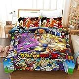 Yomoco - Juego de ropa de cama Dragon Ball, funda nórdica y dos fundas de almohada, microfibra, en impresión digital 3D, juego de cama de tres piezas, 06, 140 x 210 cm