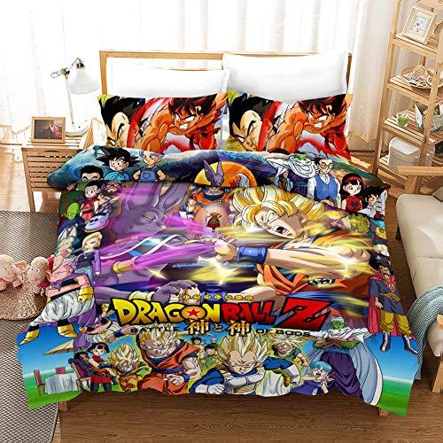 Yomoco - Juego de ropa de cama Dragon Ball, funda nórdica y dos fundas de almohada, microfibra, en impresión digital 3D, juego de cama de tres piezas, 06, 180 x 210 cm
