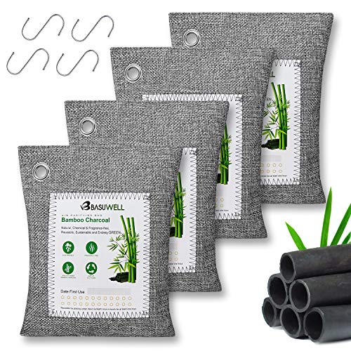 Activated Bamboo Charcoal Air Purifying Bags (4 Pack - 4x200g) with 4 Hooks, Natural Charcoal Bags Odor Absorber for Home and Car (Pet Friendly)