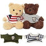 Muiteiur Cute Teddy Bear Stuffed Animal 2-Pack of Teddy Bears with 4 Sweaters Special Plush Gift for Kids, Girlfriend (11.8inch)