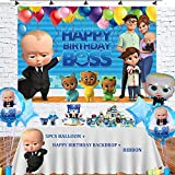 OPATER Baby Boss Balloons Birthday Party Supplies Decorations Boss Day Balloons,Boss Happy Birthday Banner Backdrop for Boys Girls Kids Baby Shower Decor