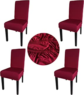 Gold Fortune Spandex Fabric Stretch Removable Washable Dining Room Chair Cover Protector Seat Slipcovers Set of 4 (Wine Red)