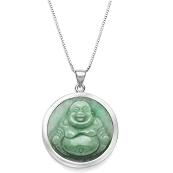 """Sterling Silver Natural Green Jade Buddha Necklace,18"""""""