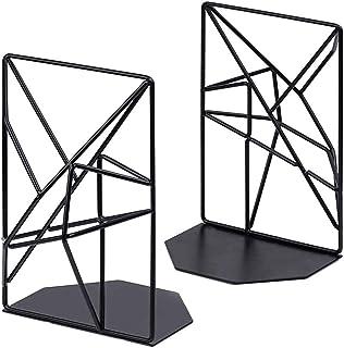 YEKKU Libro termina, 2pcs Negro sujetalibros sujetalibros estante del metal decorativo geométrico estantería Estudiante es...