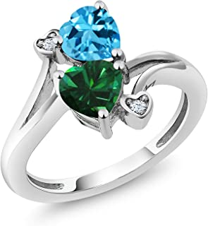 925 Sterling Silver Swiss Blue Topaz and Green Simulated Emerald Women's Ring 1.66 Ctw Heart Shape (Available 5,6,7,8,9)