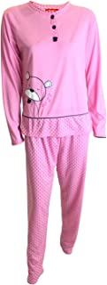 Pijama de señora Mujer de ALGODÓN Camiseta de Dibujo Bordado Manga Larga y Pantalon Estampado Largo/Ropa para Dormir