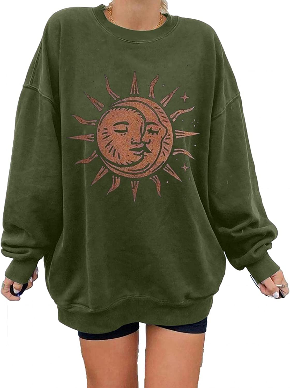 POLLYANNA KEONG Sweatshirt for Women,Womens Casual Sun Moon Graphic Long Sleeve Tee Shirts Blouses Sweatshirts Tops