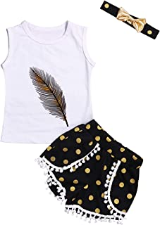 Toddler Kid Girls Clothes Feather Vest Top Golden Dots Tassels Shorts with Headband 3Pcs Outfit Set