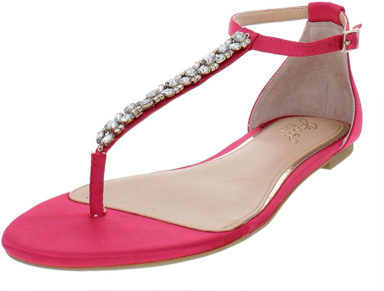 Jewel Badgley Mischka Womens Gabby Satin Flat Sandals Pink 9.5 Medium (B,M)
