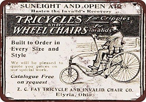 metal Signs 1902Dreiräder und Rollstühle für kranke Vintage Look Reproduktion Metall blechschild 20,3x 30,5cm