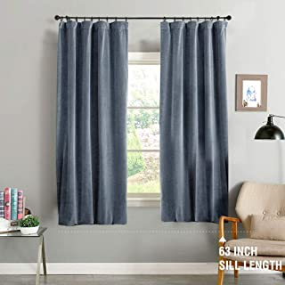 jinchan Velvet Curtain Dark Slate Living Room Rod Pocket Window Curtain Panel 63 inch Long Bedroom Thermal 1 Panel
