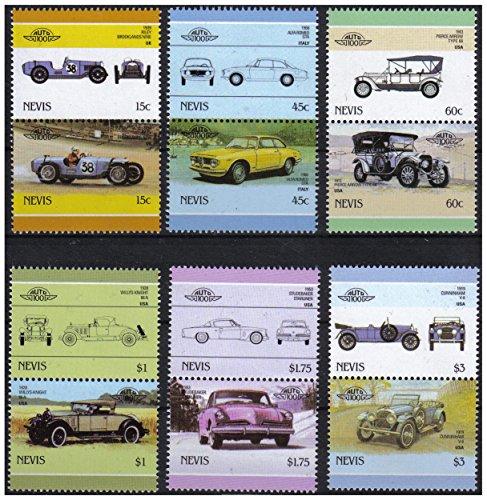 Auto 100 Automobiles 6 auto d'epoca paia bollo auto/Nevis / 1986 / MNH
