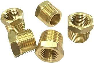 "Nigo Brass Pipe Fitting, Hex Bushing (5 Pack, 3/8"" NPT Male x 1/4"" NPT Female)"