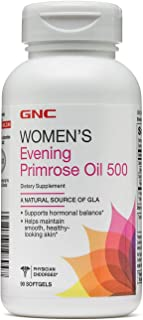 GNC Womens Evening Primrose Oil 500, 90 Softgels, Helps Maintain Smooth, Healthy Looking Skin